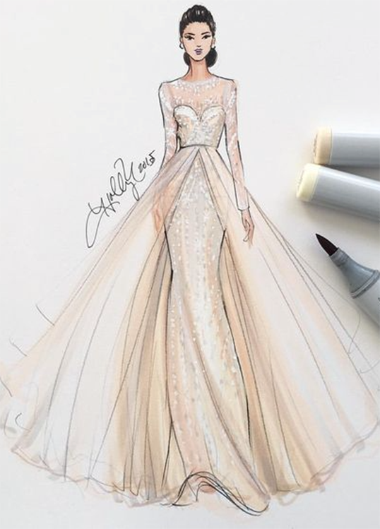 Fashion Illustration By Holly Nichols Monique Lhuillier Gown