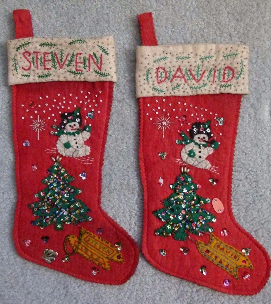 2 Vintage Felt Sequin Christmas Stockings Handmade Tree