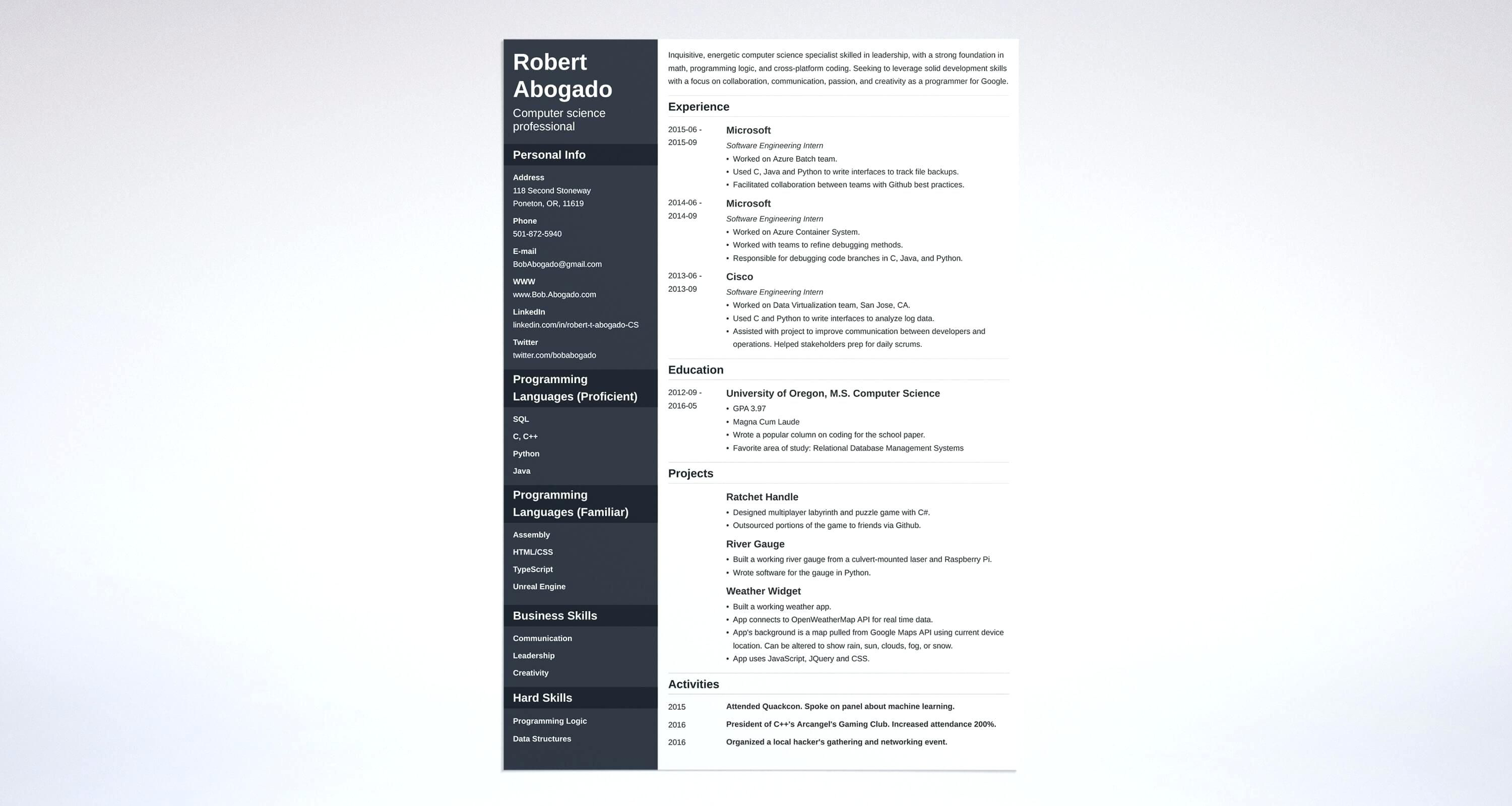 Cs Resume Template Be Computer Science Fresher Sample