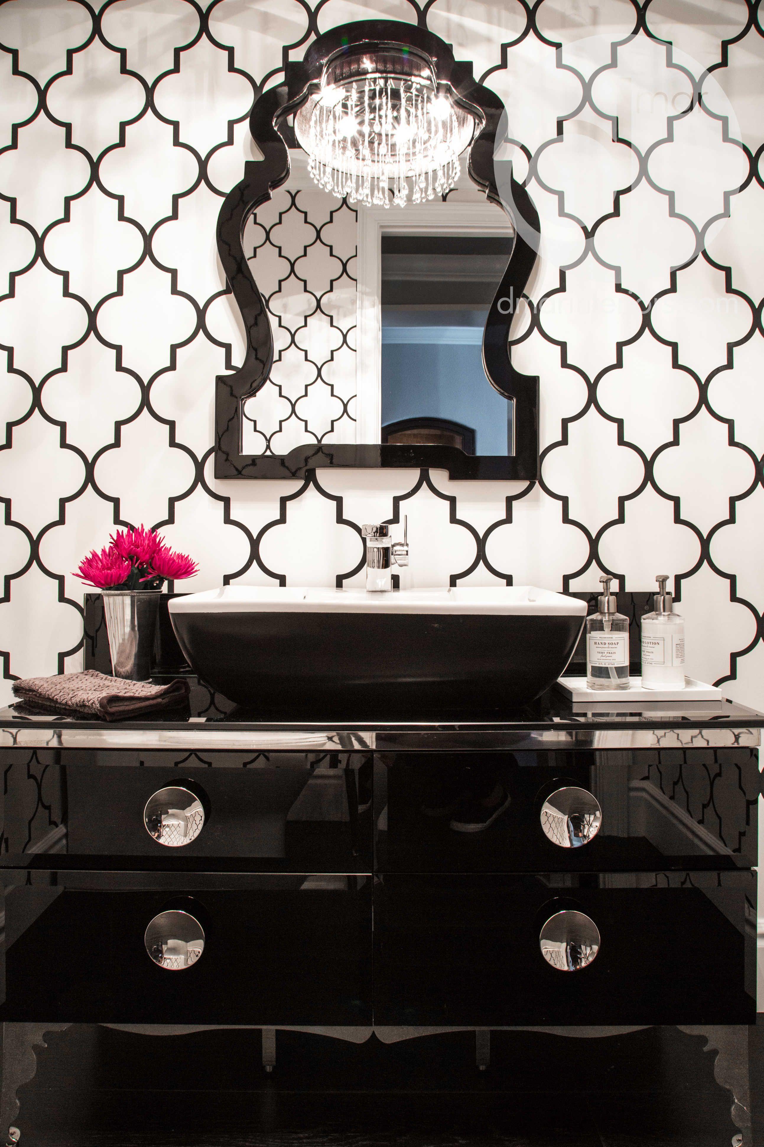 Powder room black and white modern vanity wallpaper chrome