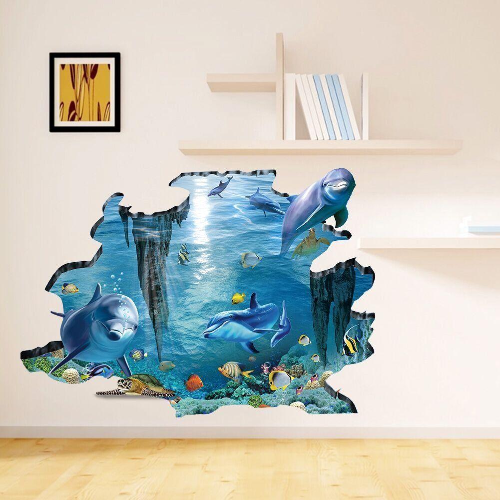 Wandtattoo Unterwasserwelt Delphine In 3D