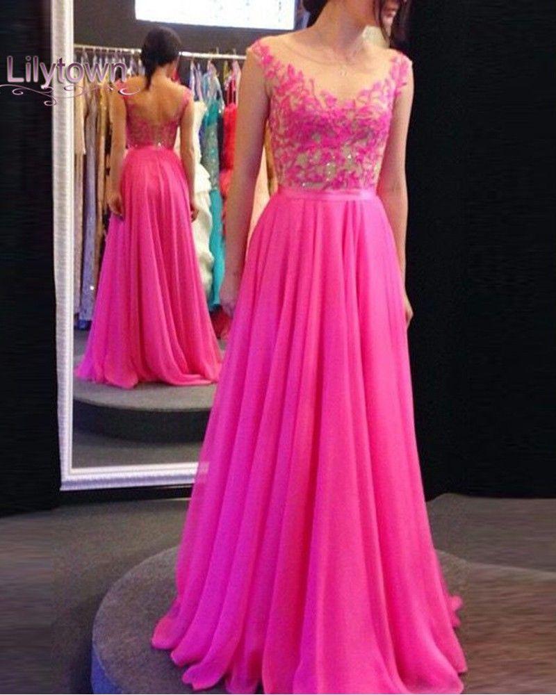 Hot pink homecoming dress  New Arrival Long Hot Pink Backless Prom Dresses  Prom Dresses