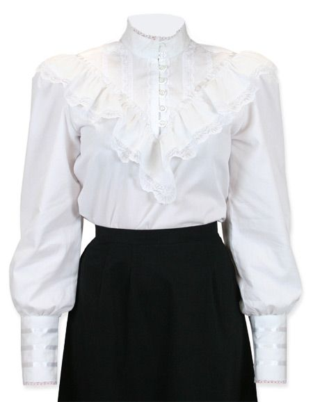 2f8212ee5d243e Vintage Ladies White Cotton,Lace Solid Stand Collar Blouse | Romantic | Old  Fashioned | Traditional | Classic || Weddington Blouse - White