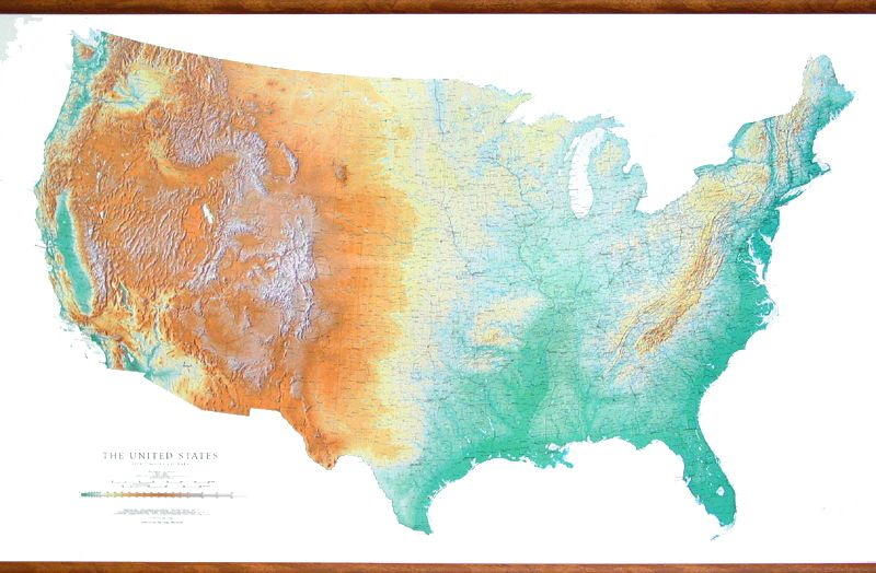 Fascinating map of the US showing mountains and plains in vivid
