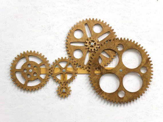 Etonnant Mechanical Wall Art. Kinetic Wall Art Decor. Rotating Wooden Gears Wall  Decor Sculpture.