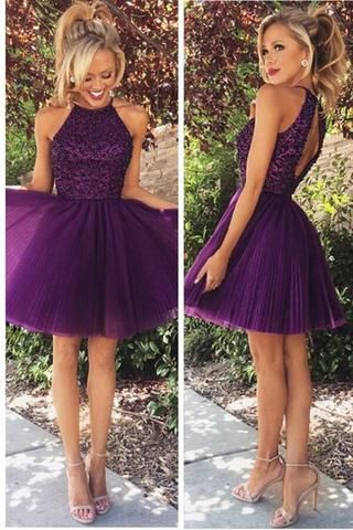Beaded Purple Sexy Open back Halter homecoming Dresses | Open ...