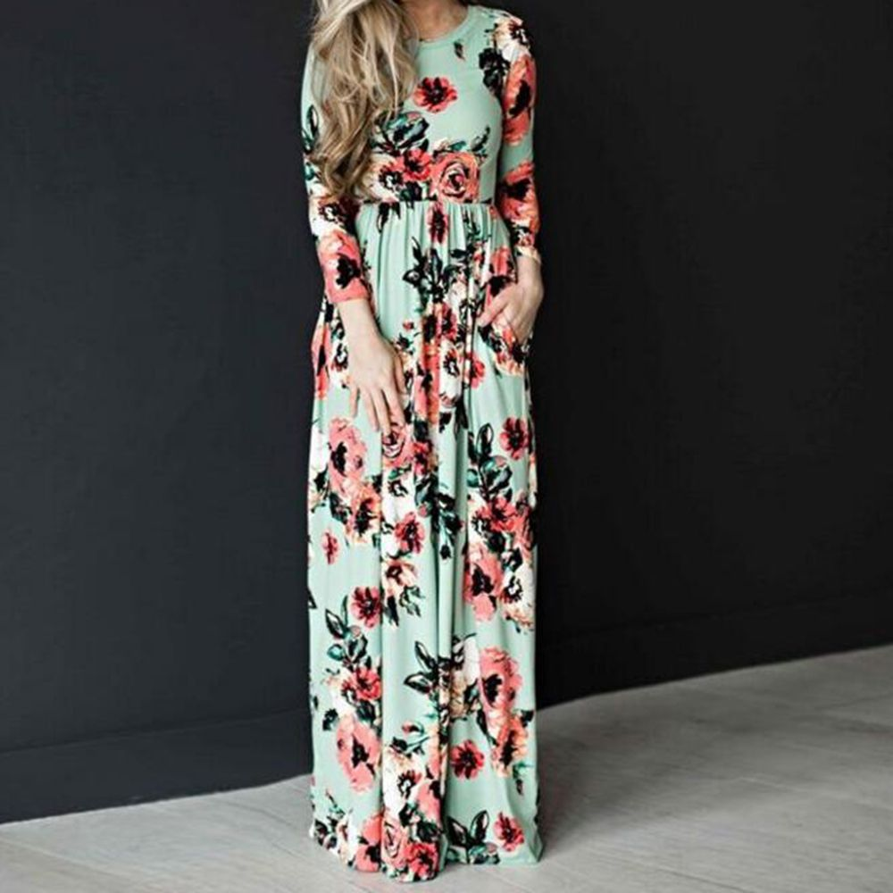 New women crew neck fashion sleeve floral printed long maxi