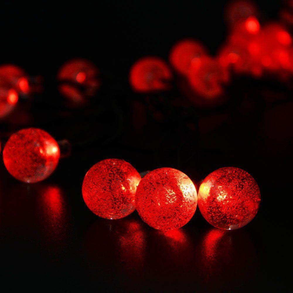 Ledertek Solar Outdoor String Lights 19 7ft 30 Led Red Crystal Ball Ed Globe Fairy For Decorations Garden Fence Path