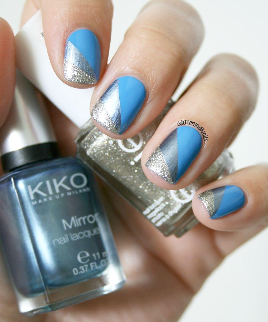 Bleu Géométrique avec Essie Avenue Maintain | Geometric nail art