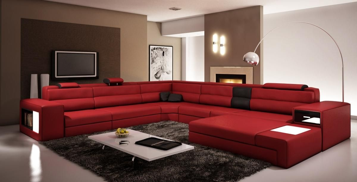 Polaris   Italian Leather Sectional Sofa In Dark Red   VIG Furniture  VGEV5022 DKRED Part 51