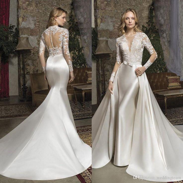 Fabulous mermaid lace wedding dresses with detachable