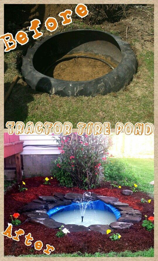 Tractor tire pond stone pond pinterest garten for Wasserteich im garten