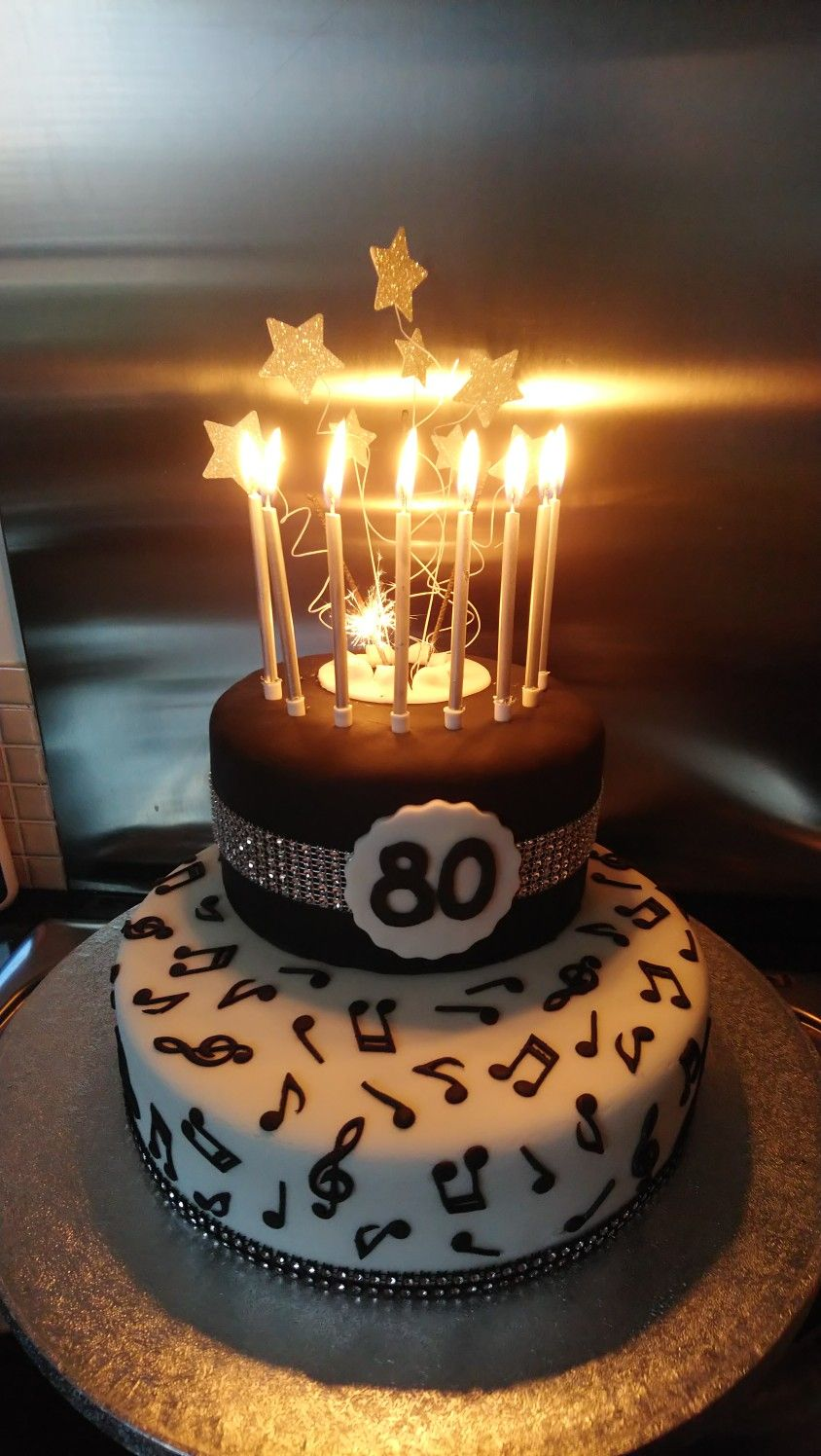 Dads musical themed 80th birthday cake 80 birthday