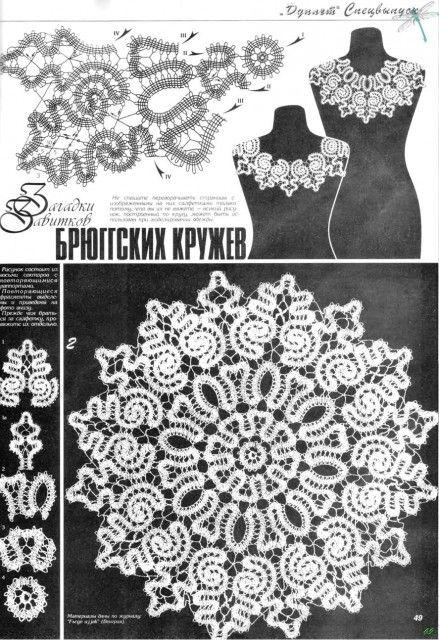 Схемы брюггского кружева салфетки