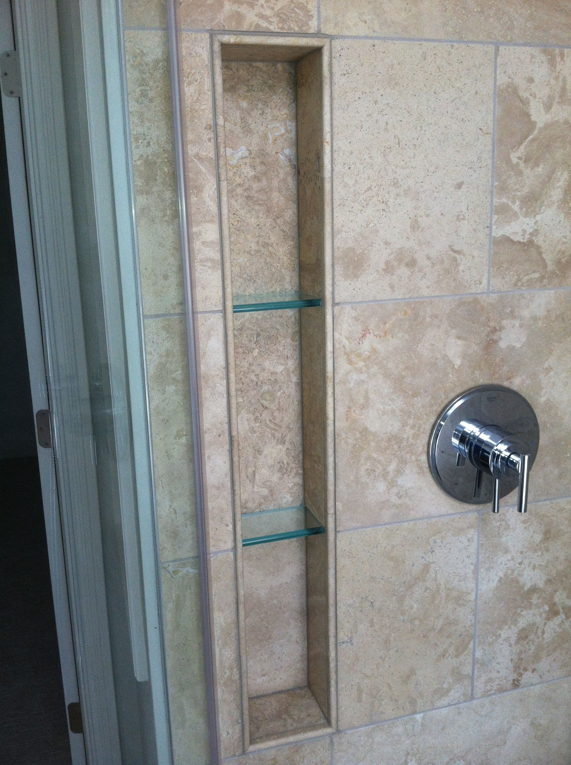 Floating Glass Shelves In Shower Niche