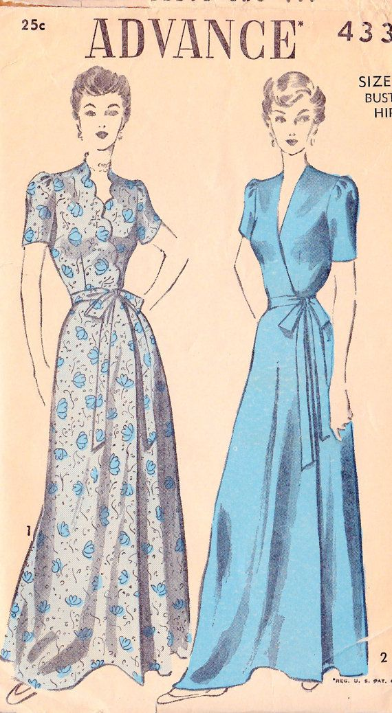 1940s Misses Housecoat or Robe Vintage Sewing Pattern 5094be782