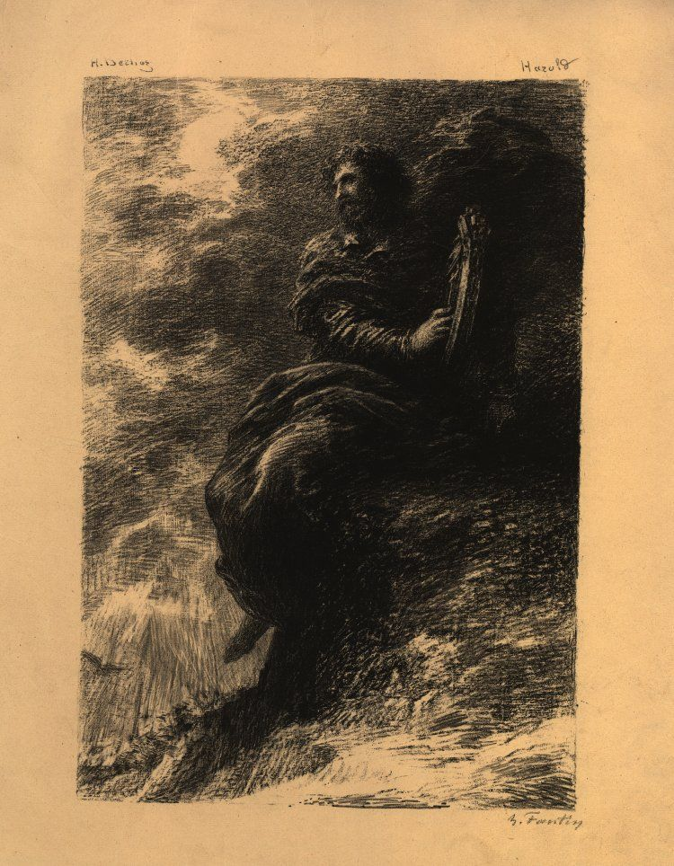 Dans les montagnes (1884), lithograph by Henri Fantin-Latour (1836-1904), from 1st movement Harold en Italie (1834), by Hector Berlioz (1803-1869).