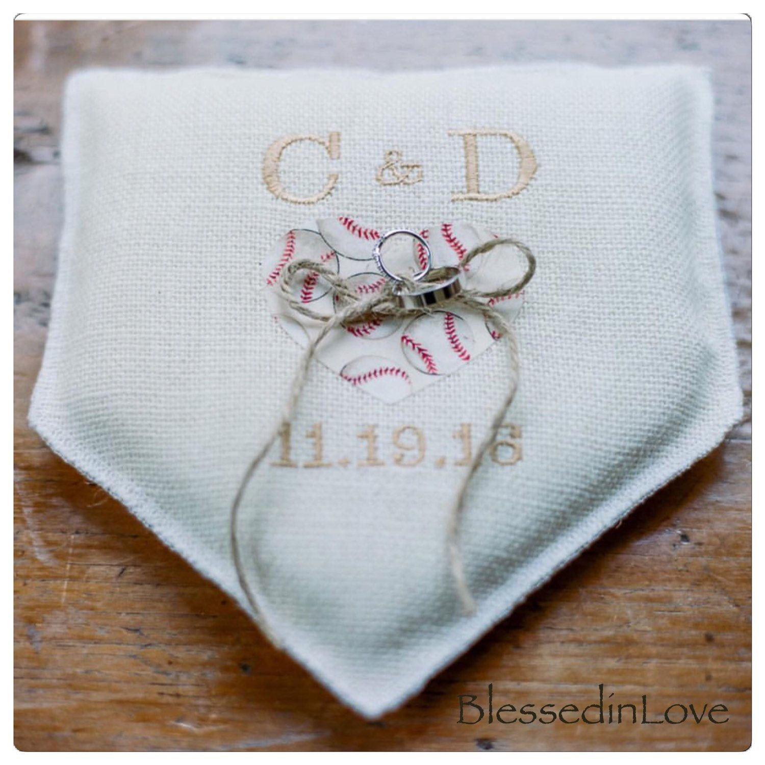 Baseball wedding, baseball themed, Wedding Ring Pillow, Burlap ...
