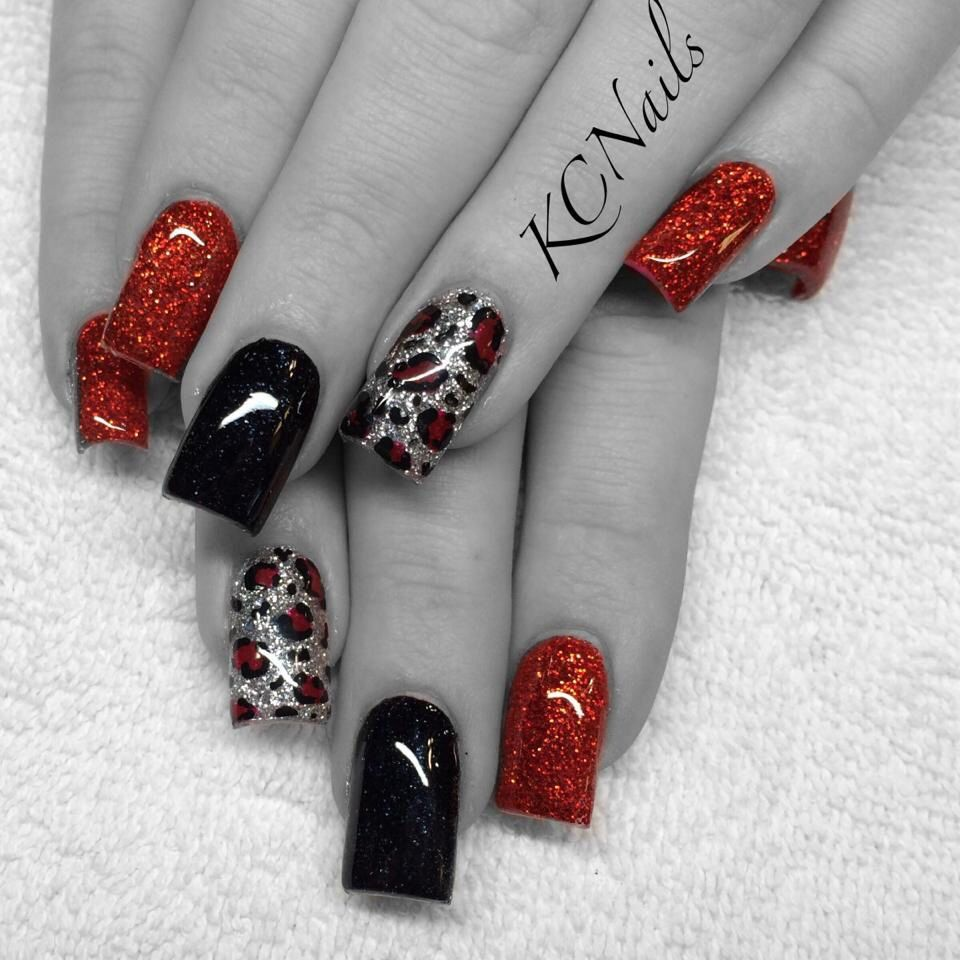 Red, black, silver \u0026 leopard print acrylic nails. KCNails