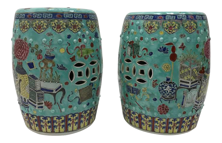 Chinese Medallion Seats or Side Tables  a Pair is part of Chinese garden Seating - A pair of aqua and multicolored Chinese ceramic medallion garden seats or side tables   Wonderful accent pieces!