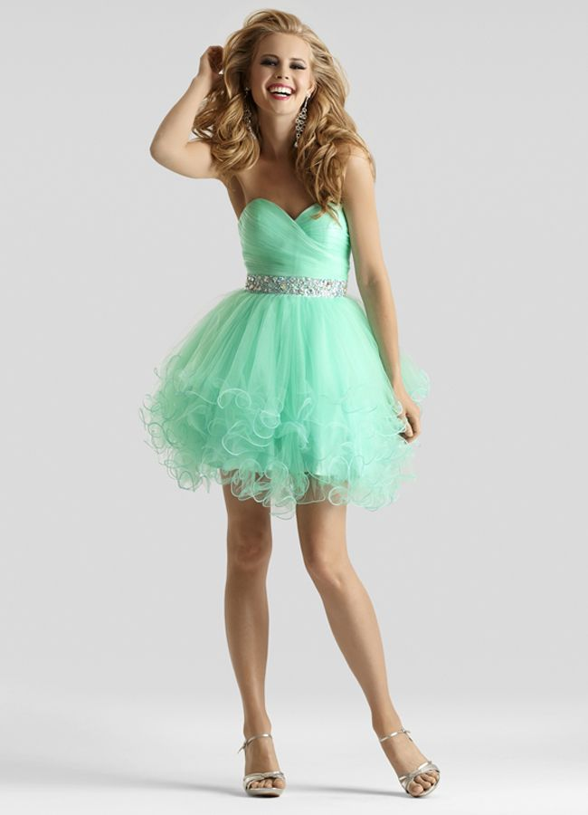 668b96f32 Clarisse 2014 Mint Pink Blue Short Tulle Prom Dress 2303 | Promgirl.net
