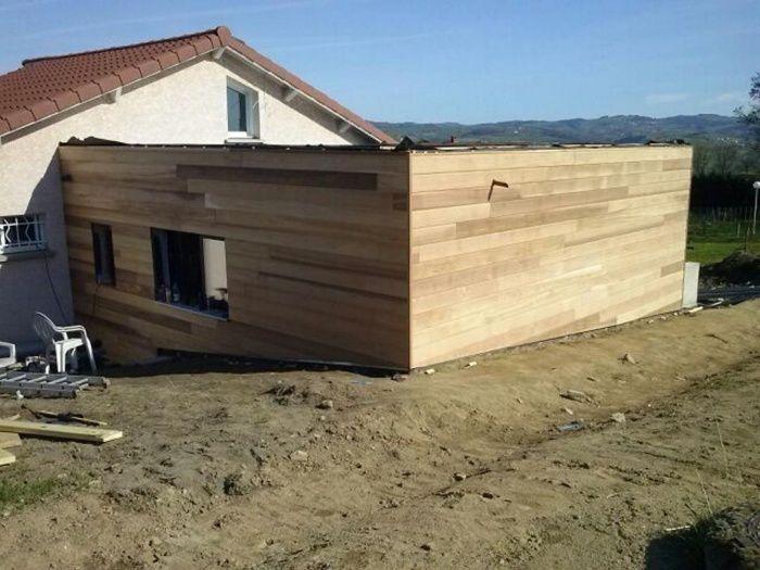 pose du bardage red cedar suite et fin extension bois - extension maison bois 20m2