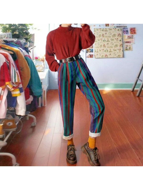 Photo of Fashion Dark Vertical Stripes Straight Trousers – nicolemove.com