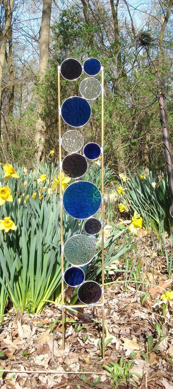 stained glass garden art stake blue purple garden yard decoration