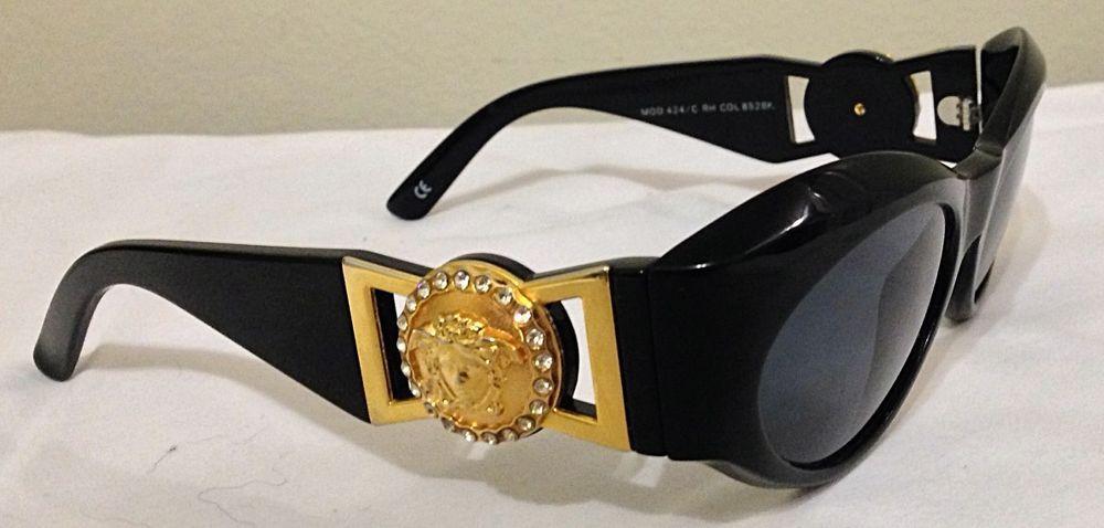 8426222a6a44c Vintage Gianni Versace Medusa Sunglasses Biggie Belt Black N Gold Mod.  424 C-RH
