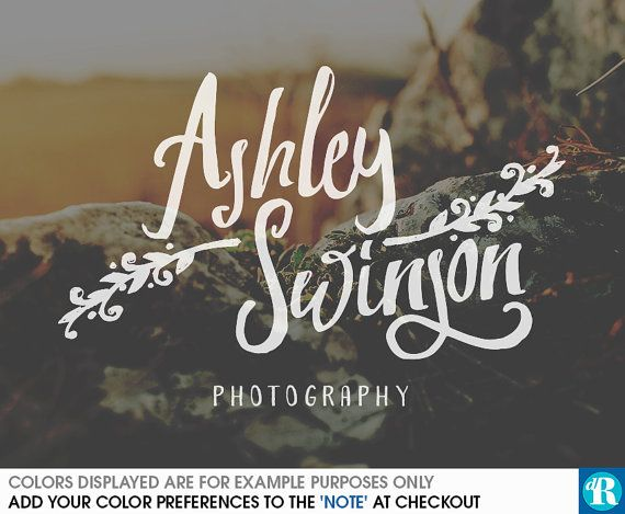 Watercolor Photography Watermark Photography Logo Handwritten Signature Logo Design Artistic Branches Logo Artsy Hipster Logo Contemporary