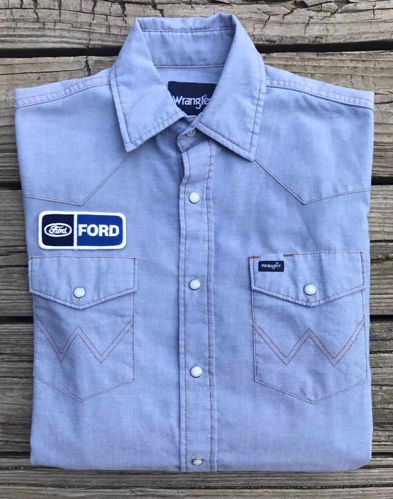 e81a4bdbbcc Vintage FORD Wrangler Pearl Snap Button Blue Long Sleeve Western Shirt  Men s M  Wrangler  ButtonFront