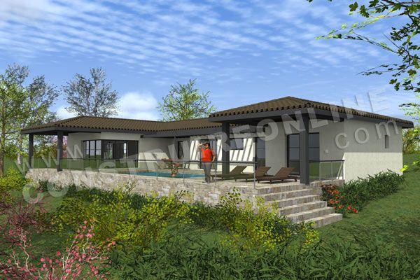 photo maison contemporaine sur terrain en pente projet maison - construction maison terrain en pente