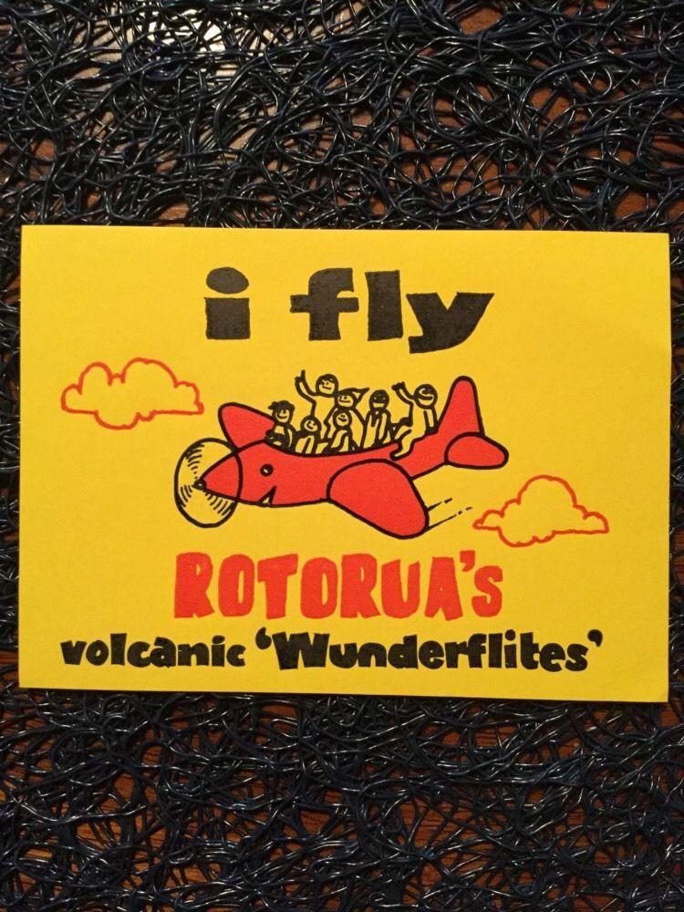 Vintage Rotorua Travel Decal I Fly Rotorua Volcanic Wunderflites New Cond Nz Rotorua Vintage Travel Vintage