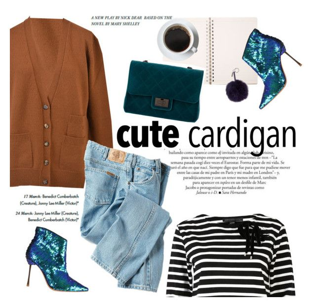 """""""cute cardigan"""" by italist ❤ liked on Polyvore featuring moda, CÉLINE, Design Inverso, Fendi, Sophia Webster, Marc by Marc Jacobs e Dickies"""