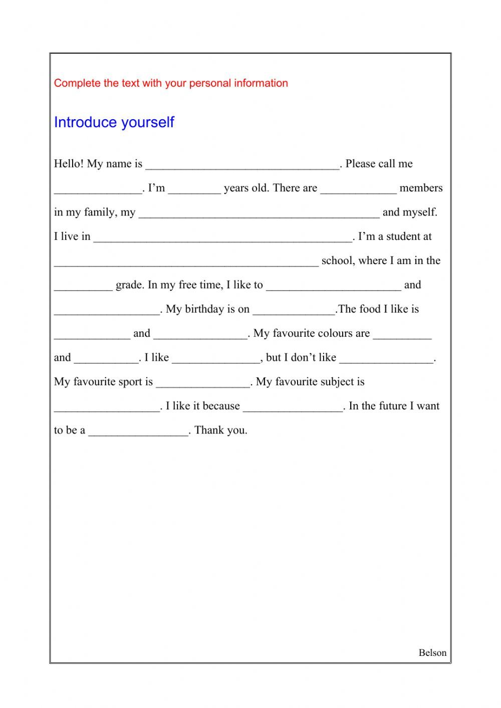 Introduce Yourself Interactive Worksheet How To Introduce Yourself English As A Second Language English As A Second Language Esl [ 1413 x 1000 Pixel ]