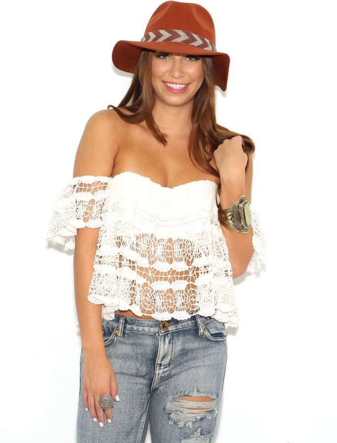 dd4a48ed5f9663 West Coast Wardrobe Little Talks Crochet Lace Off the Shoulder Top in White  on shopstyle.com