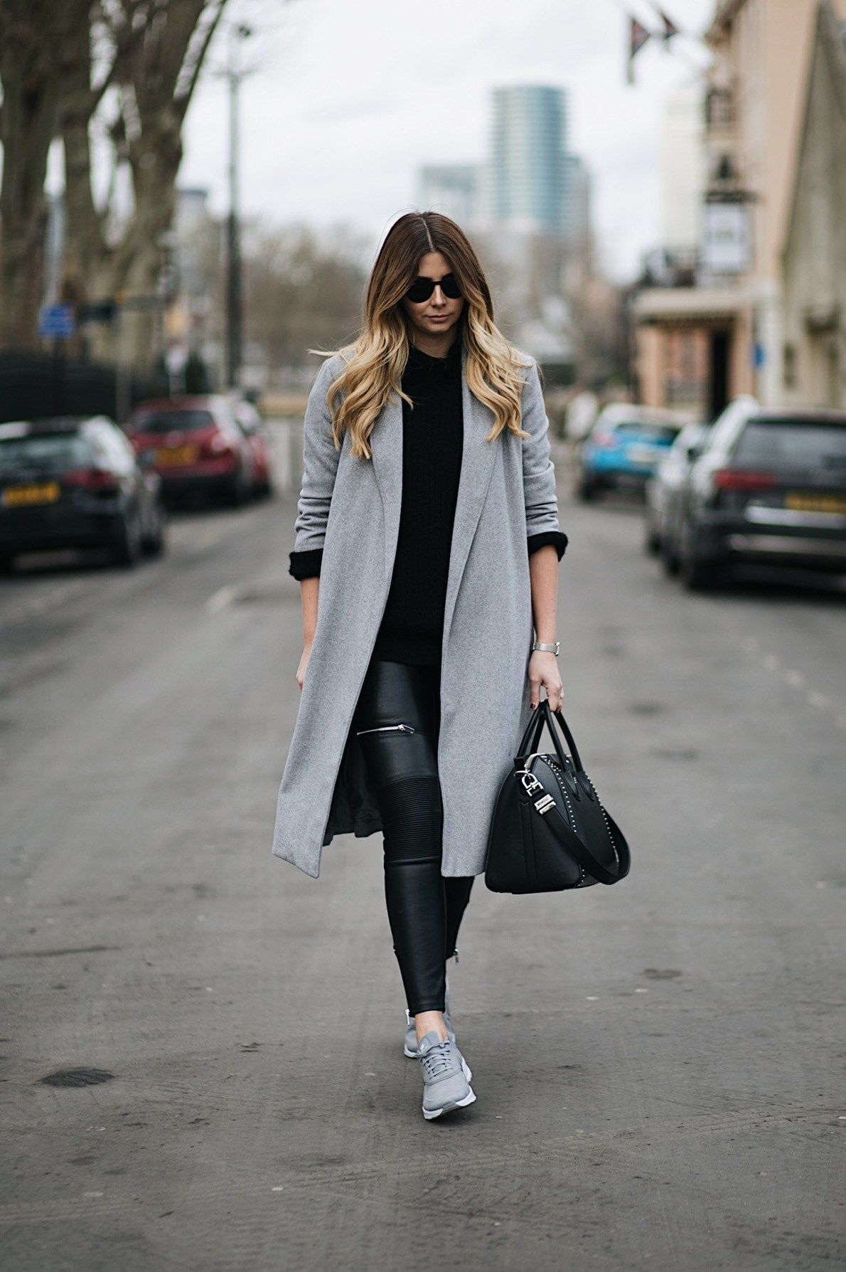 grey swing coat, leather look biker