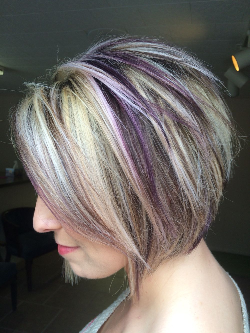 Purple Highlights Purple Hair Highlights Hair Styles Blonde Hair With Highlights