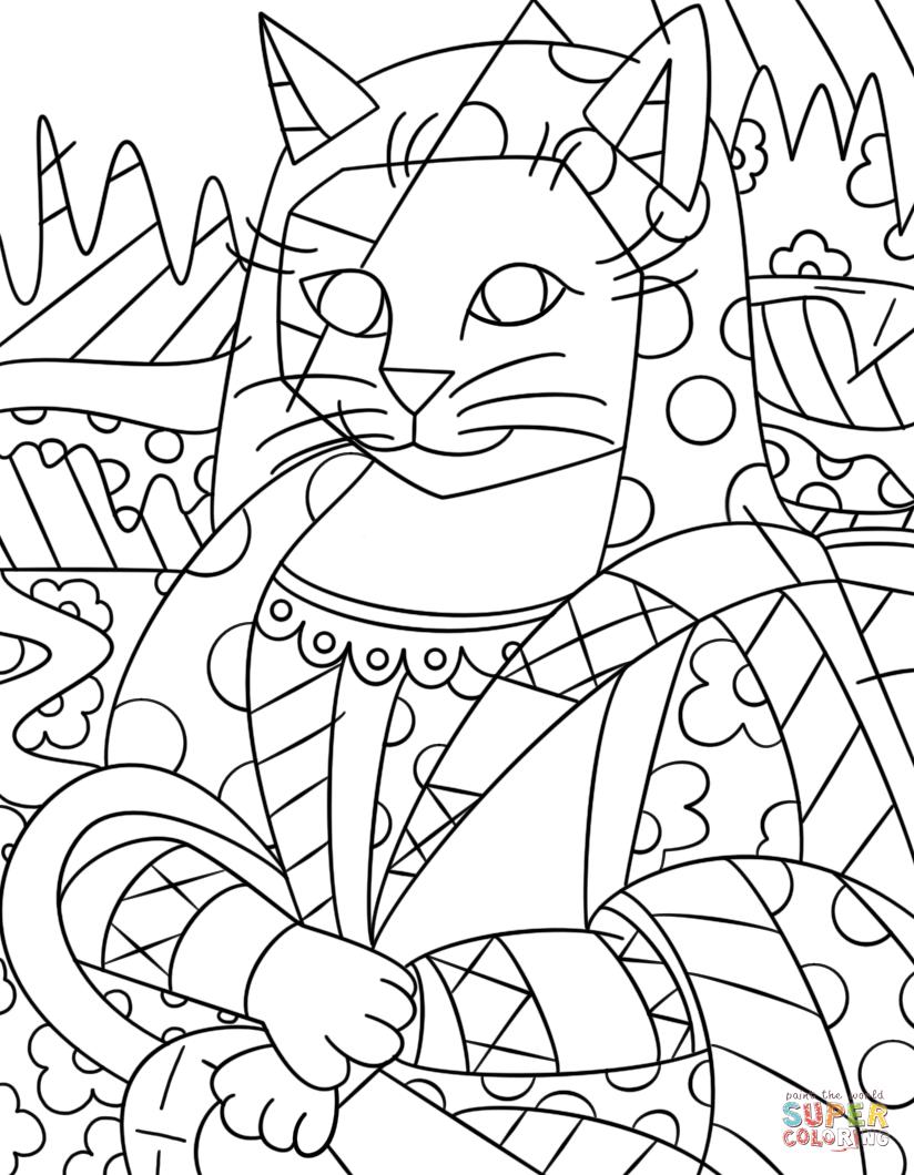 Mona Cat by Romero Britto coloring page from Romero Britto category ...