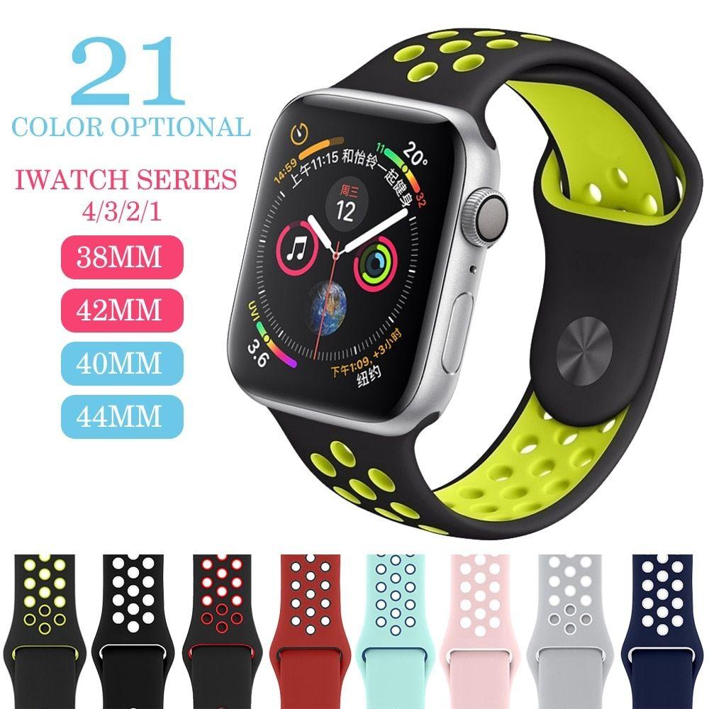 Transpirable De Deporte Banda Para Apple Watch 42mm 38mm 44mm 40mm Muñeca Banda Apple Serie 4 3 2 1 Universal Apple Watch Iphone Watch Bands Apple Watch Wristbands