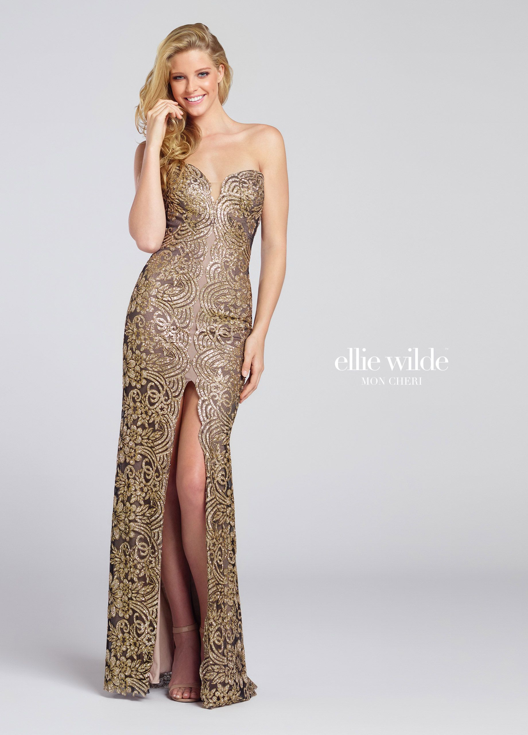 Gold Strapless Sparkle Sequin Fit and Flare Prom Gown - EW117110 ...
