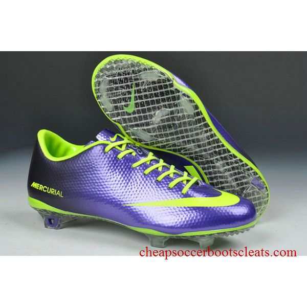 blue and neon green Nike mercurial soccer cleats.