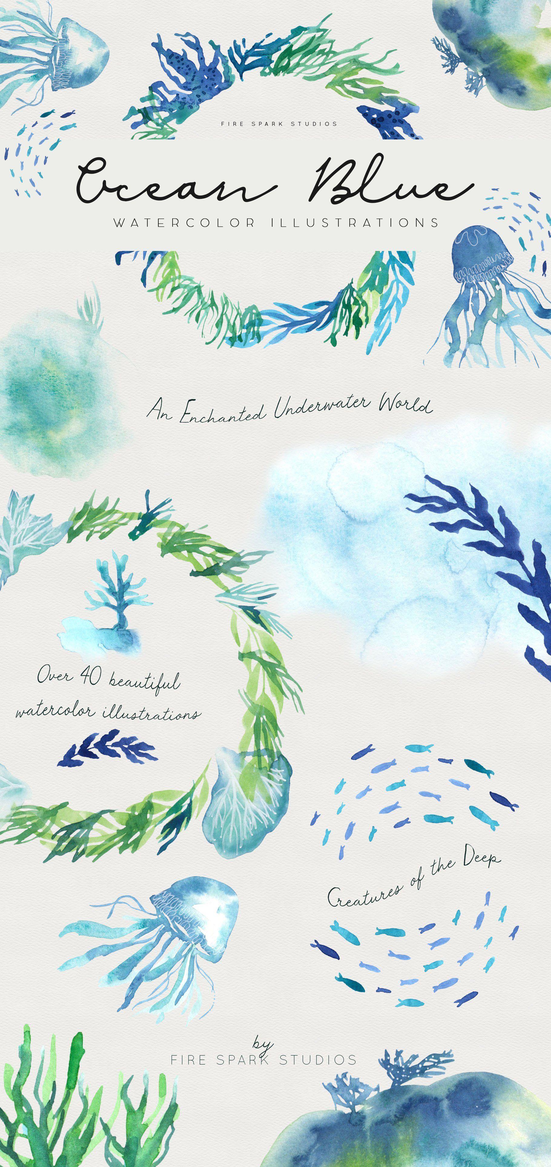 Ocean Blue Watercolor Illustrations Illustrations Creative