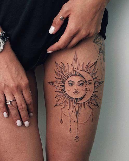 65 Badass Thigh Tattoo Ideas For Women Tattoos Tattoos For Women Sun Tattoos