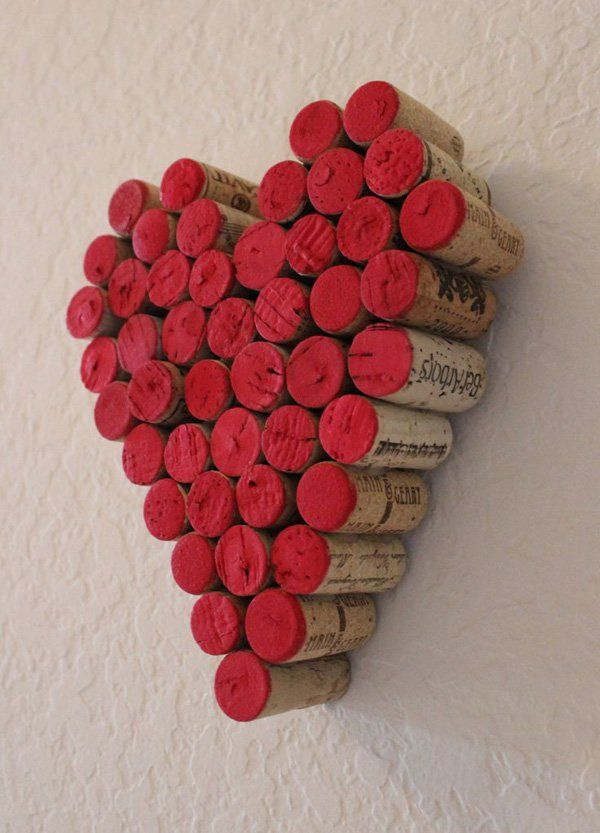 A group of red tipped corks forming a valentine heart. Scale up these corks on your wall as they form a