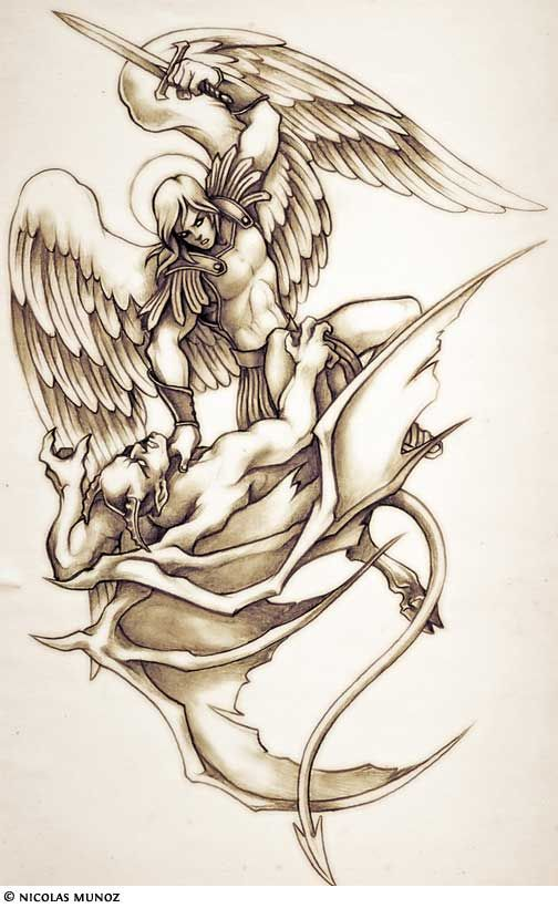 c8c801cb61cf8 god fighting devil tattoo | The most popular archangel tattoo is one of St.  Michael, God's warrior .
