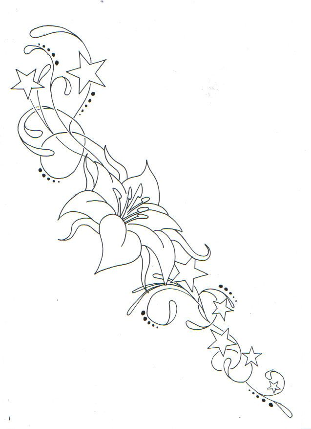 Flower And Star Flourish Flower Tattoos Star Tattoos Flower Tattoo