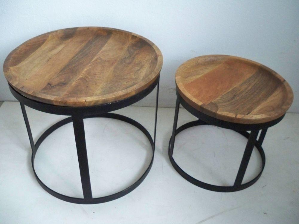 Beistelltisch Set 2 teilig Metall+ Mangoholz massiv  - k chen antik stil