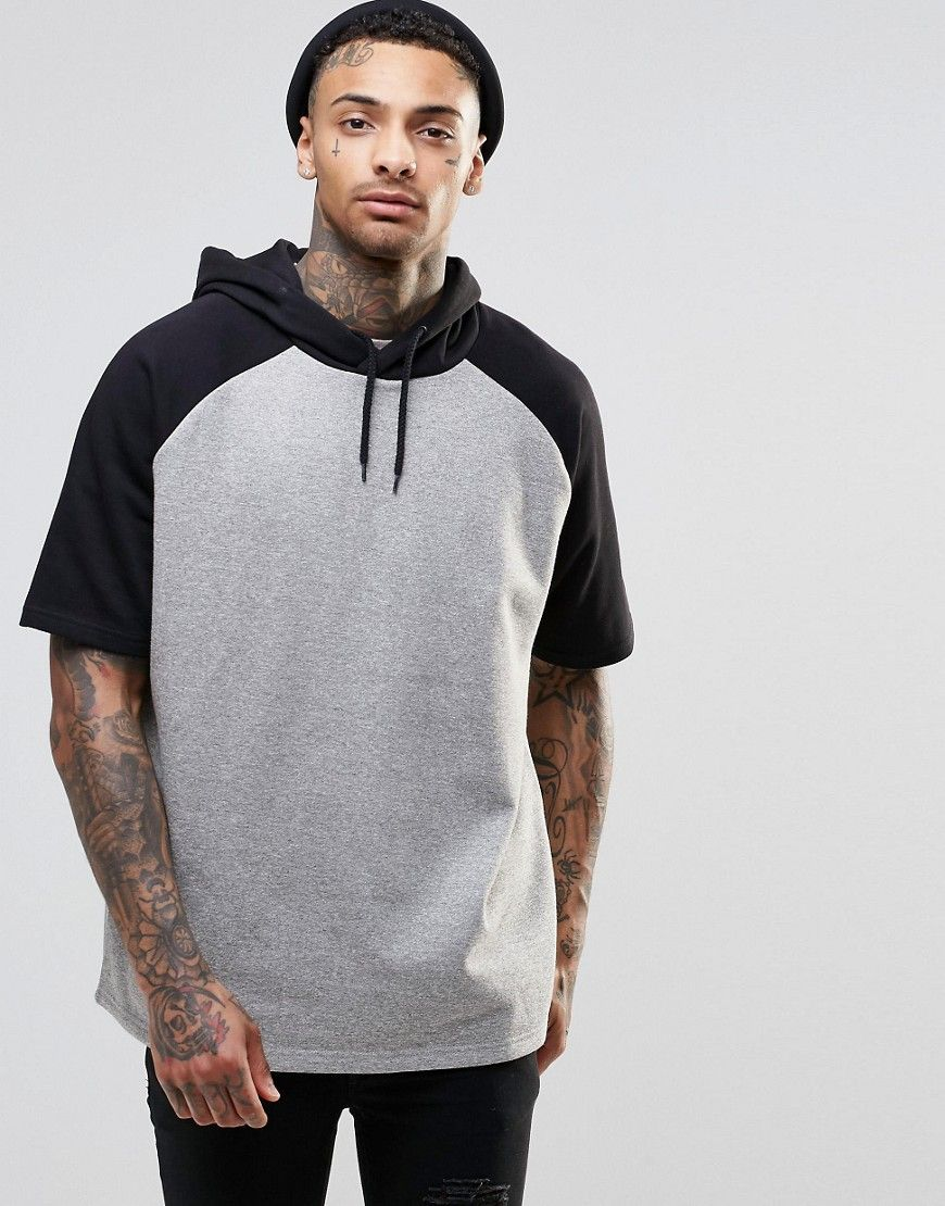 Image 1 of ASOS Oversized Short Sleeve Hoodie With Contrast ...