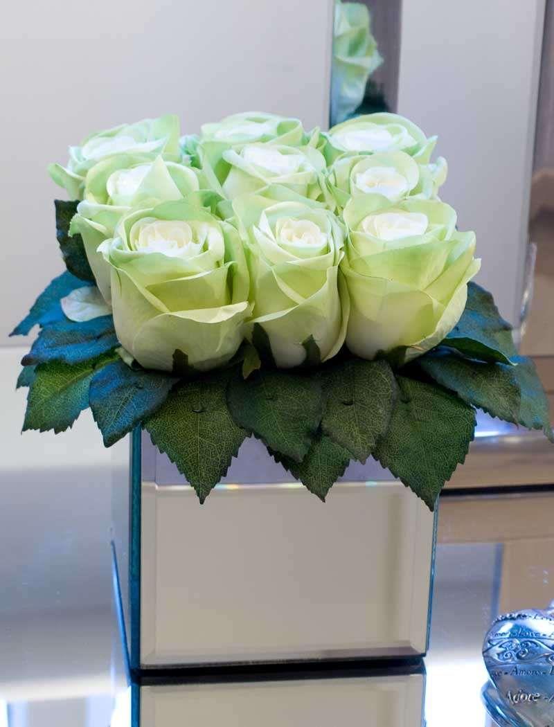 Roses in mirror vase in green rtfact artificial silk flowers roses in mirror vase in green rtfact artificial silk flowers reviewsmspy